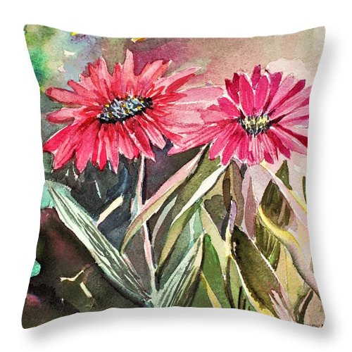 Daisy Throw Pillow featuring the painting Bright Spring Daisies by Mindy Newman