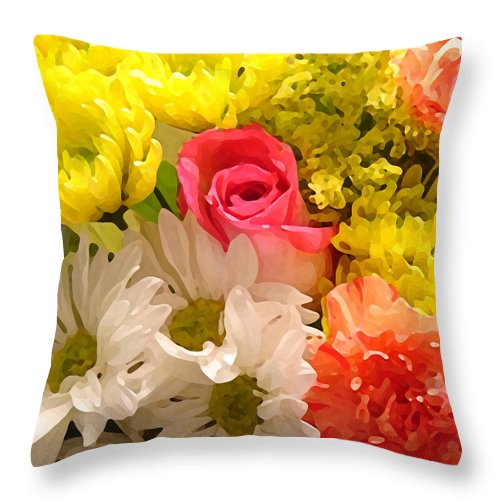 Floral Throw Pillow featuring the painting Bright Spring Flowers by Amy Vangsgard