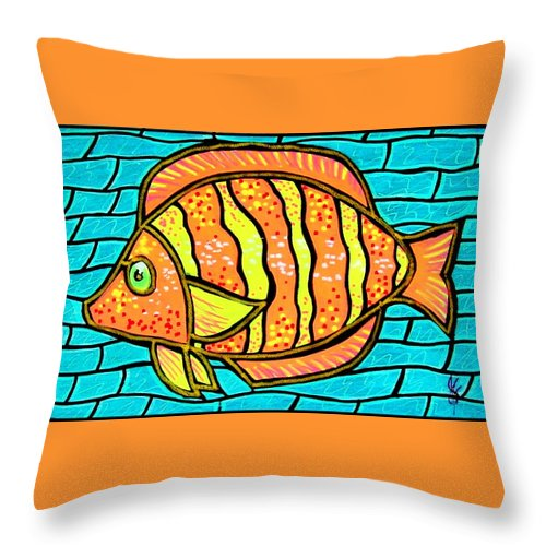 Tropical Throw Pillow featuring the painting Bright Tropical Fish by Jim Harris