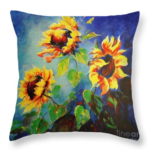 Sunflower Painting Throw Pillow featuring the painting Brighten My Day by Madeleine Holzberg