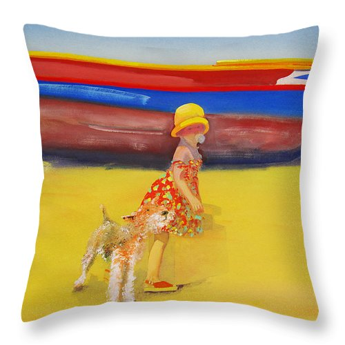 Wire Haired Fox Terrier Throw Pillow featuring the painting Brightly Painted Wooden Boats With Terrier And Friend by Charles Stuart