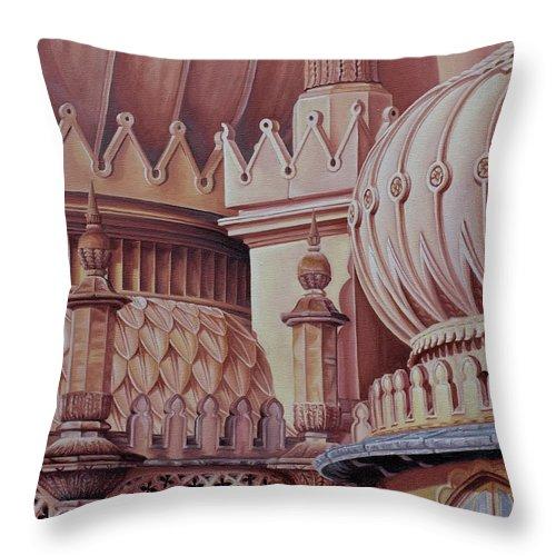 Brighton Throw Pillow featuring the painting Brighton Palace by Pauline Sharp