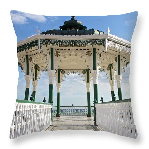 Architecture Throw Pillow featuring the photograph Brighton Seafront Gazebo by Venetia Featherstone-Witty