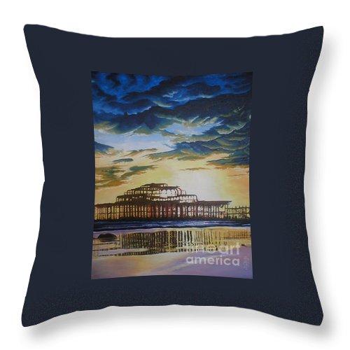 Brighton West Pier Derelict Victorian Sad Beach Sand Sunset Throw Pillow featuring the painting Brighton West Pier by Pauline Sharp