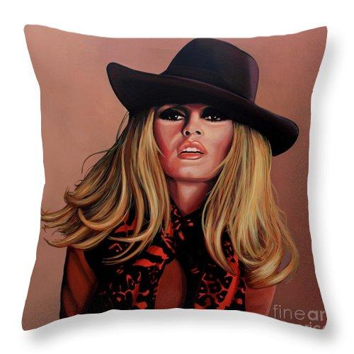 Brigitte Bardot Throw Pillow featuring the painting Brigitte Bardot Painting 1 by Paul Meijering