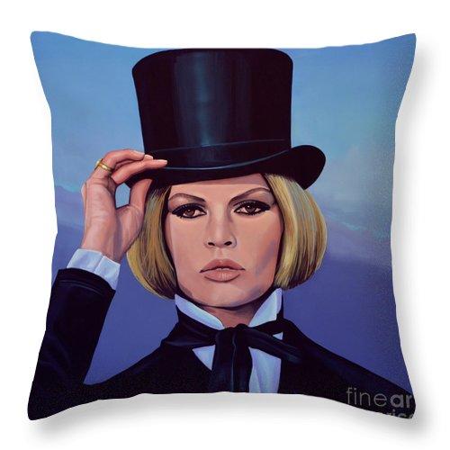 Brigitte Bardot Throw Pillow featuring the painting Brigitte Bardot Painting 2 by Paul Meijering