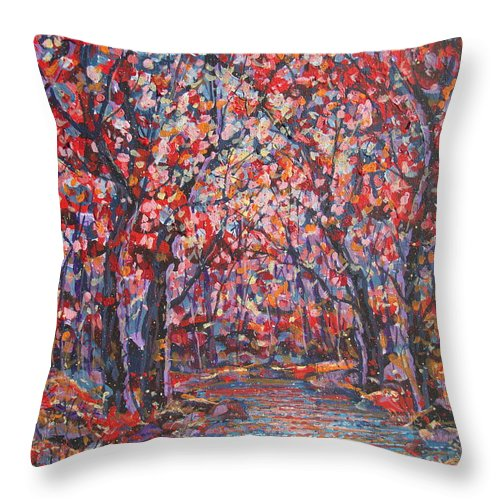 Forest Throw Pillow featuring the painting Brilliant Autumn. by Leonard Holland