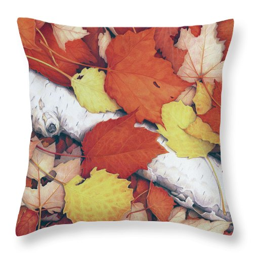 Fall Throw Pillow featuring the drawing Brilliant Embers by Amy S Turner