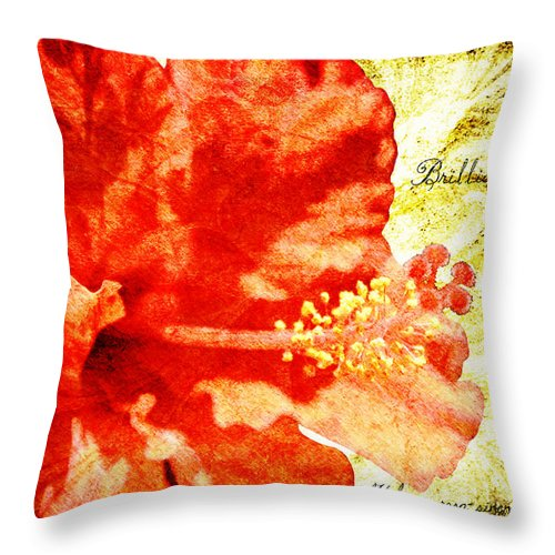 Hibiscus Throw Pillow featuring the digital art Brilliant Hibiscus by Teresa Mucha