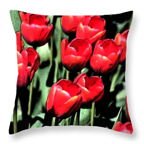 Red Throw Pillow featuring the photograph Brilliant Tulips Dp22 by Mary Gaines