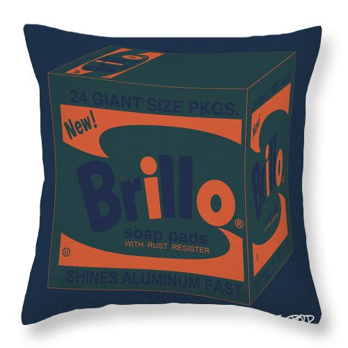 Throw Pillow featuring the digital art Brillo Box Colored 6 - Warhol Inspired by Peter Potamus