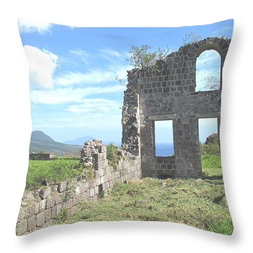 St Kitts Throw Pillow featuring the photograph Brimstone Ruins by Ian MacDonald