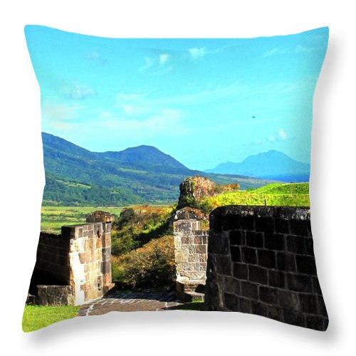St Kitts Throw Pillow featuring the photograph Brimstone Towards Nevis by Ian MacDonald
