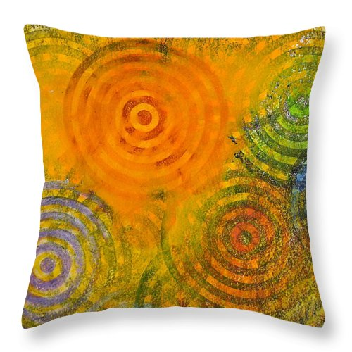 Abstract Paintings Throw Pillow featuring the painting Bring Down Colored Rain by Cliff Spohn
