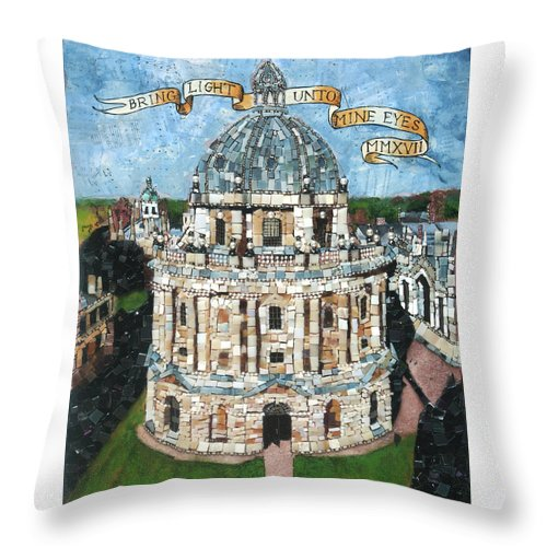Oxford Throw Pillow featuring the mixed media Bring Light Unto Mine Eyes by Pauline Lim