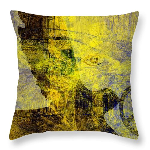 Fania Simon Throw Pillow featuring the mixed media Bring Me The Horizon by Fania Simon