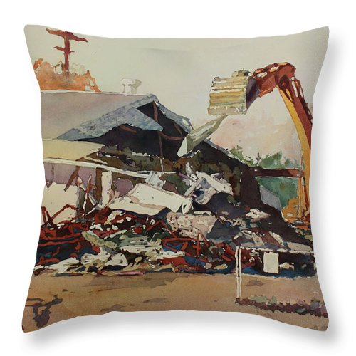 House Throw Pillow featuring the painting Bringing Down The House by Jenny Armitage
