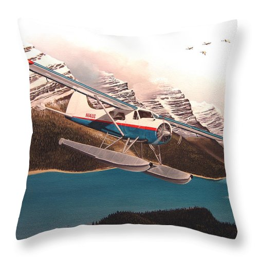 Aviation Throw Pillow featuring the painting Bringing Home The Groceries by Marc Stewart