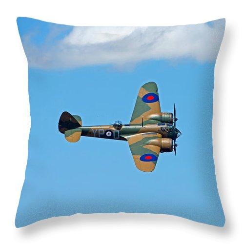 Blenheim Throw Pillow featuring the photograph Bristol Blenheim 1 Riat 2015 by Paul Scoullar