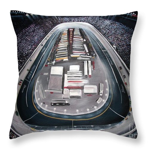 Racing Throw Pillow featuring the painting Bristol Motor Speedway Racing The Way It Ought To Be by Patricia L Davidson