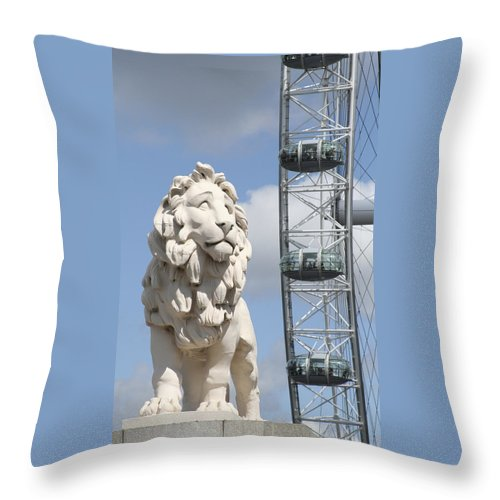 Lion Throw Pillow featuring the photograph Britannia Lion by Margie Wildblood