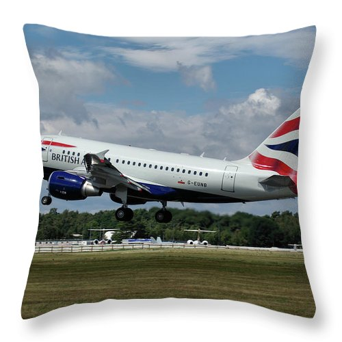 Airbus Throw Pillow featuring the photograph British Airways Airbus A318-112 G-eunb by Tim Beach
