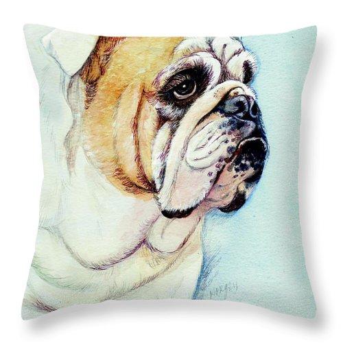 British Throw Pillow featuring the painting British Bulldog by Morgan Fitzsimons