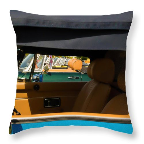 Throw Pillow featuring the photograph British Car Blue by Timoke Brown