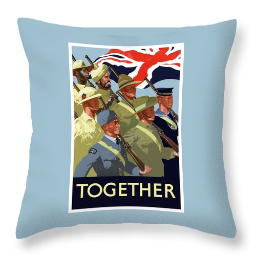 Union Flag Throw Pillow featuring the painting British Empire Soldiers Together by War Is Hell Store