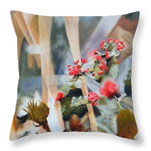 Nature Throw Pillow featuring the painting British Soldiers by Dave Martsolf