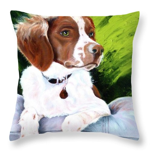 Spaniel Throw Pillow featuring the painting Brittany Spaniel by Susan A Becker
