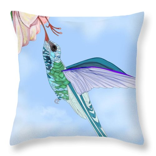 Hummingbird Throw Pillow featuring the painting Broadbilled Hummer by Anne Norskog