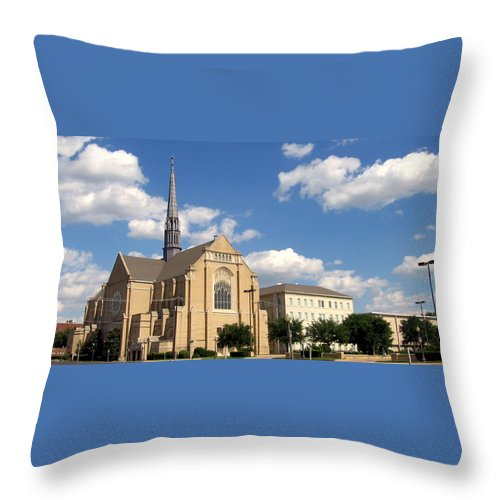 Broadway Baptist Church Throw Pillow featuring the photograph Broadway Baptist by Amy Hosp