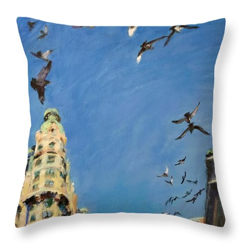 New York Throw Pillow featuring the painting Broadway Pigeons No. 1 by Peter Salwen