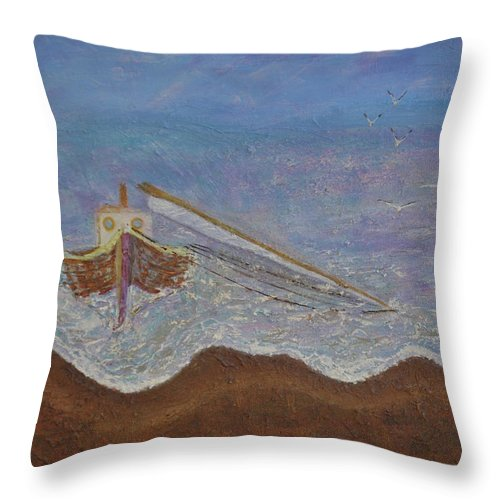Boat Throw Pillow featuring the painting Brocken Mast by Richard Benson