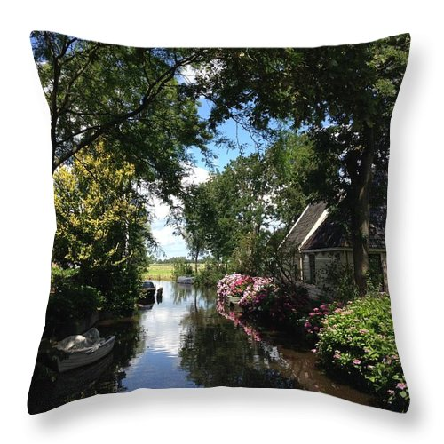 Landscape Photograph Throw Pillow featuring the photograph Broek In Waterland - 1 by Garima Srivastava