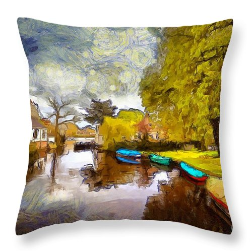 Broek In Waterland Throw Pillow featuring the photograph Broek In Waterland by Eva Lechner