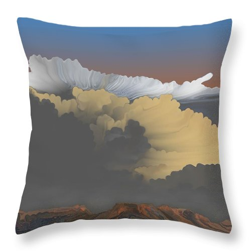 Thunderstorms Throw Pillow featuring the digital art Brokeback Hills by Kerry Beverly