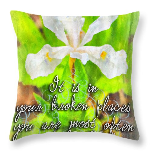 Jesus Throw Pillow featuring the digital art Broken Places by Michelle Greene Wheeler