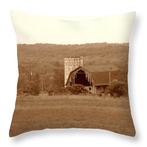 Barn Throw Pillow featuring the photograph Broken by Rhonda Barrett