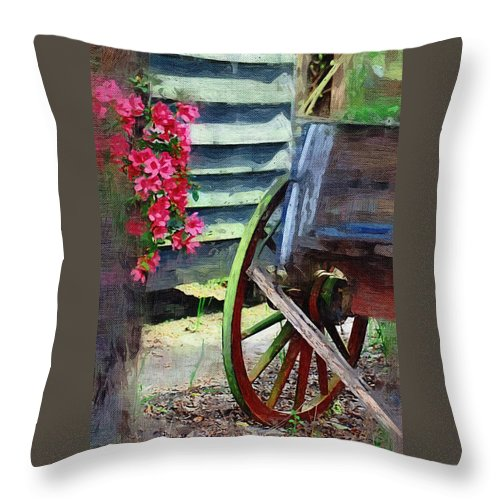 Wagon Throw Pillow featuring the photograph Broken Wagon by Donna Bentley