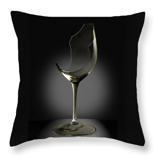 Glassware Throw Pillow featuring the photograph Broken Wine Glass by Yuri Lev