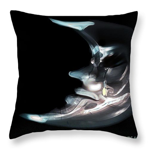 Black Throw Pillow featuring the painting Brokenhearted Moon by RC DeWinter