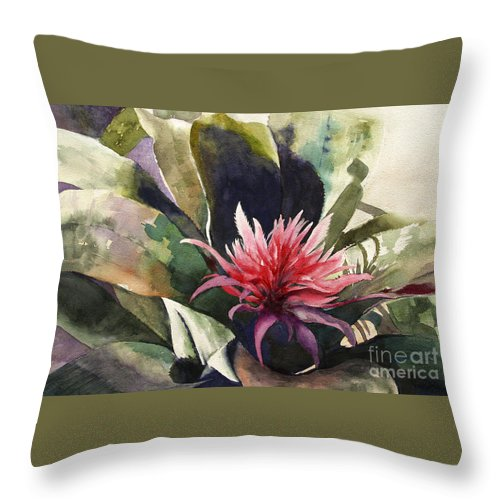 Impressionist On Canvas Throw Pillow featuring the painting Bromiliad by Madeleine Holzberg