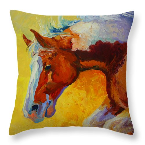Western Throw Pillow featuring the painting Bronc I by Marion Rose