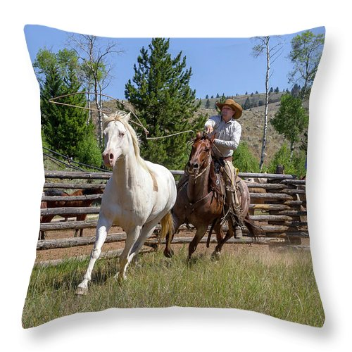Cowboy Throw Pillow featuring the photograph Bronc Roper by Jack Bell