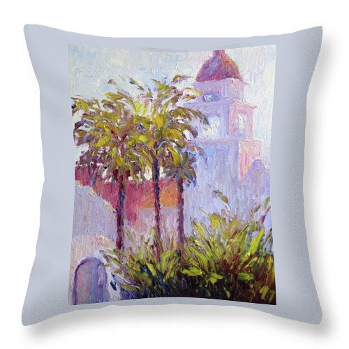Art Throw Pillow featuring the painting Bronson Mansion by Terry Chacon