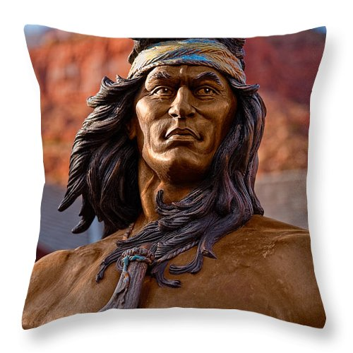 Statue Throw Pillow featuring the photograph Bronze Native by Christopher Holmes