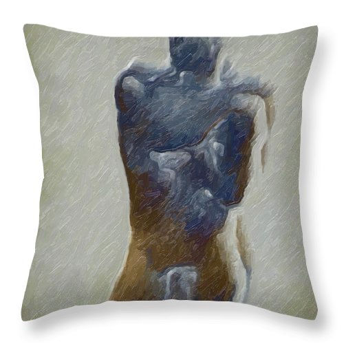 Abstract Throw Pillow featuring the digital art Bronze Statue by Joaquin Abella