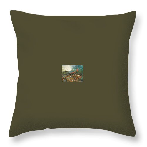 Nature Throw Pillow featuring the painting Brook Trout Art Fish Art Nature Wildlife Underwater by Baslee Troutman